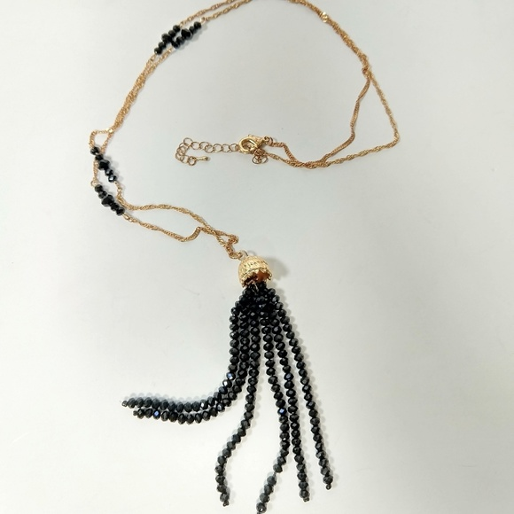 Vintage Jewelry - Vintage glass tassel gold chain necklace